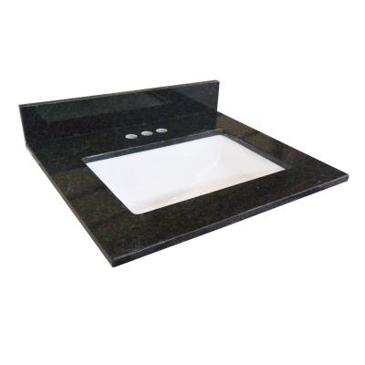 31 in. W Granite Vanity Top in Black Pearl with White Rectangular Basin and 4 in. Faucet Spread