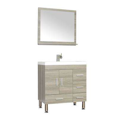 The Modern 29.37 in. W x 19 in. D Bath Vanity in Gray with Acrylic Vanity Top in White with White Basin and Mirror