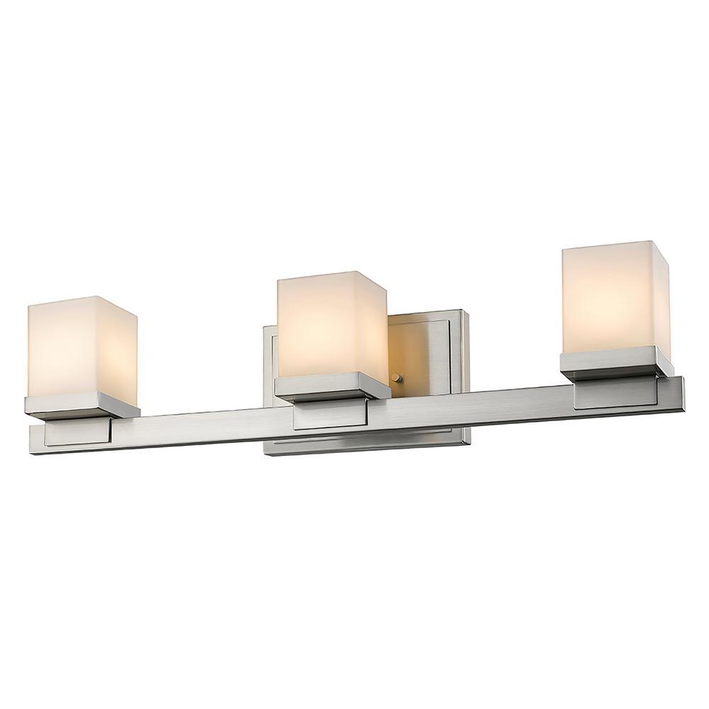 3-Light Brushed Nickel LED Bath Light
