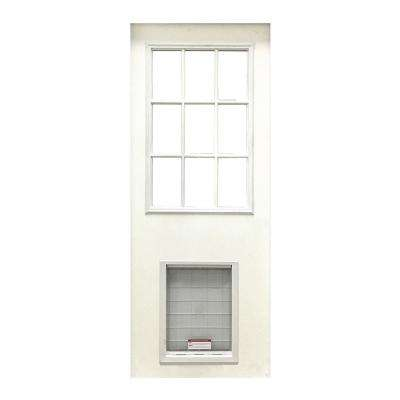 31-3/4 in. x 79 in. 9-Lite White Primed Fiberglass Front Door Slab with Super Large Pet Door