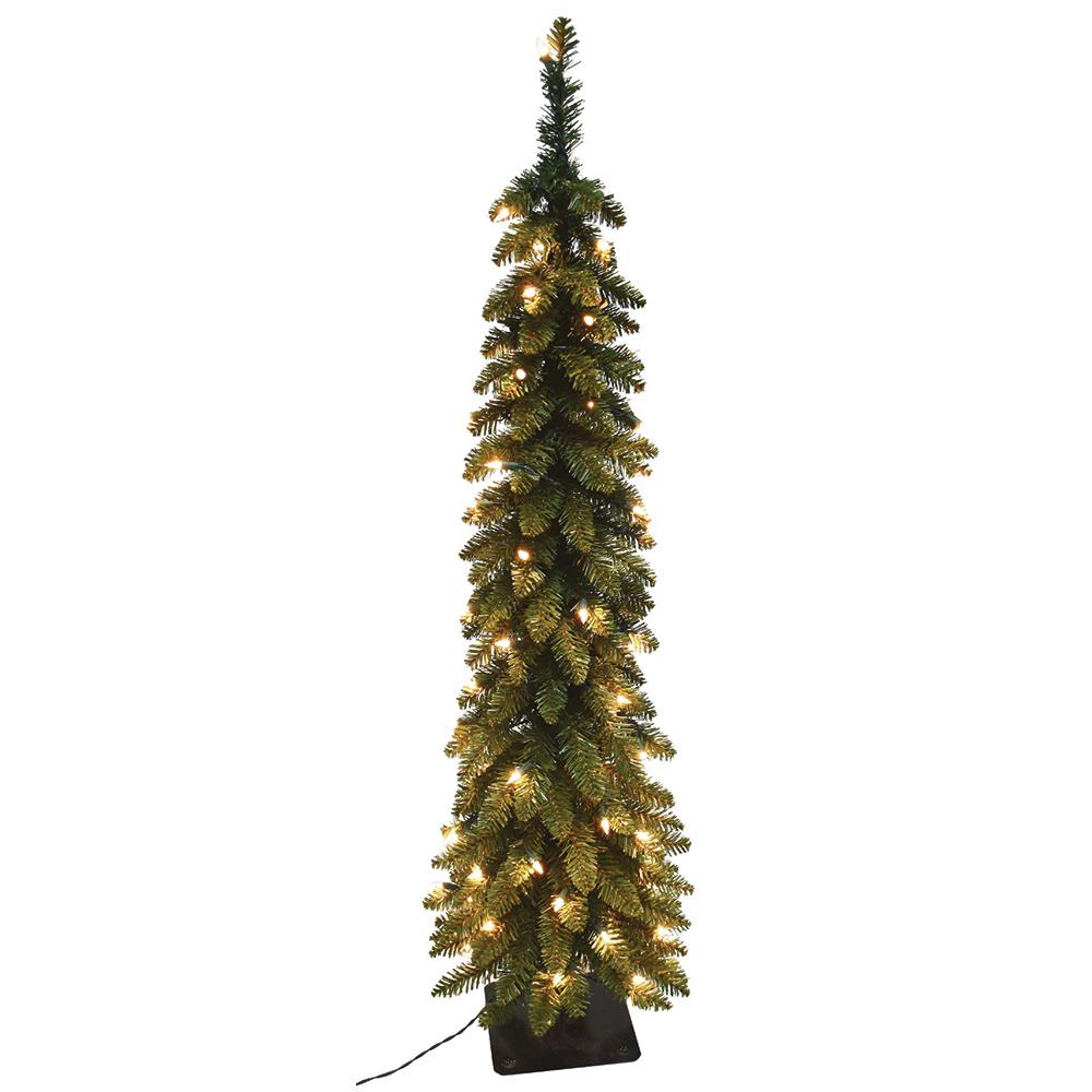 6 ft pre lit pencil slim artificial christmas tree with 150 ul lights 15964 the home depot. Black Bedroom Furniture Sets. Home Design Ideas