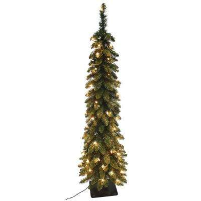 pre lit pencil slim artificial christmas tree with 150 ul lights - Home Depot White Christmas Tree