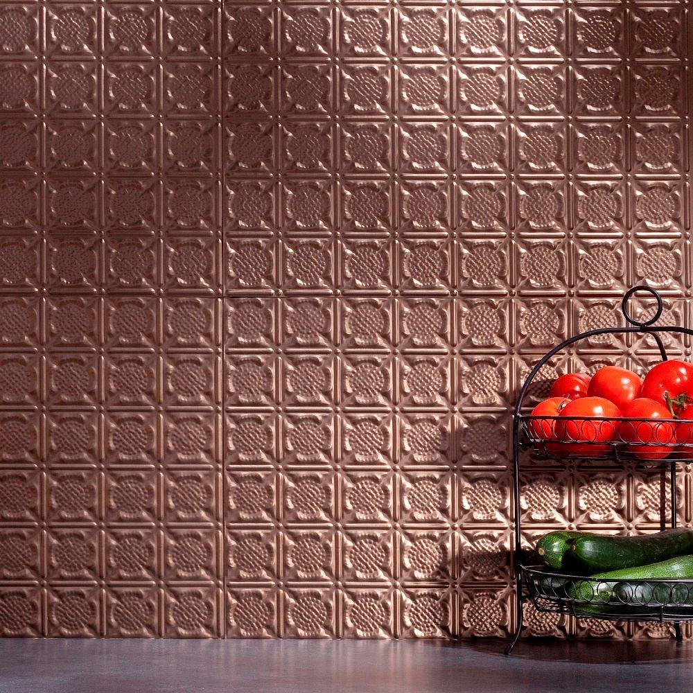 Fasade 24 in. x 18 in. Traditional 6 PVC Decorative Backsplash Panel in Argent Bronze