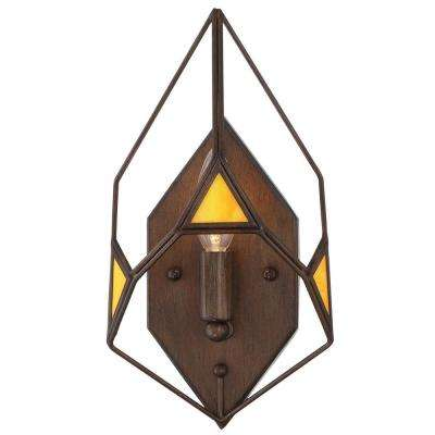 Gemma Stone 1-Light Rustic Bronze Wall Sconce with Yellow Art Glass