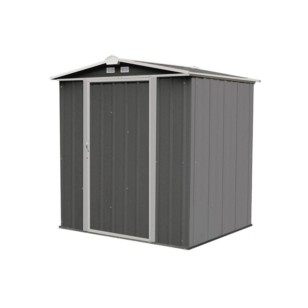 Arrow 6 ft  H x 5 ft  D x 5 5 ft  W EZEE Galvanized Steel Low Gable Shed in  Charcoal/Cream Trim with Snap-IT Quick Assembly