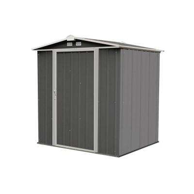 6 ft. H x 5 ft. D x 5.5 ft. W EZEE Galvanized Steel Low Gable Shed in Charcoal/Cream Trim with Snap-IT Quick Assembly