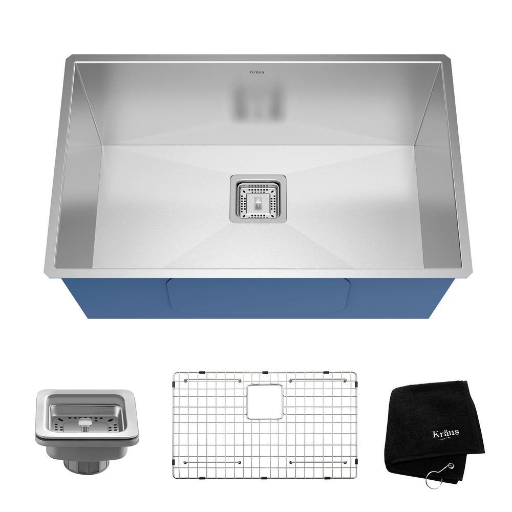KRAUS Undermount Stainless Steel 30 in. Single Basin Kitchen Sink ...