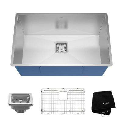 Pax Zero-Radius Undermount Stainless Steel 29 in. Single Basin Kitchen Sink Kit