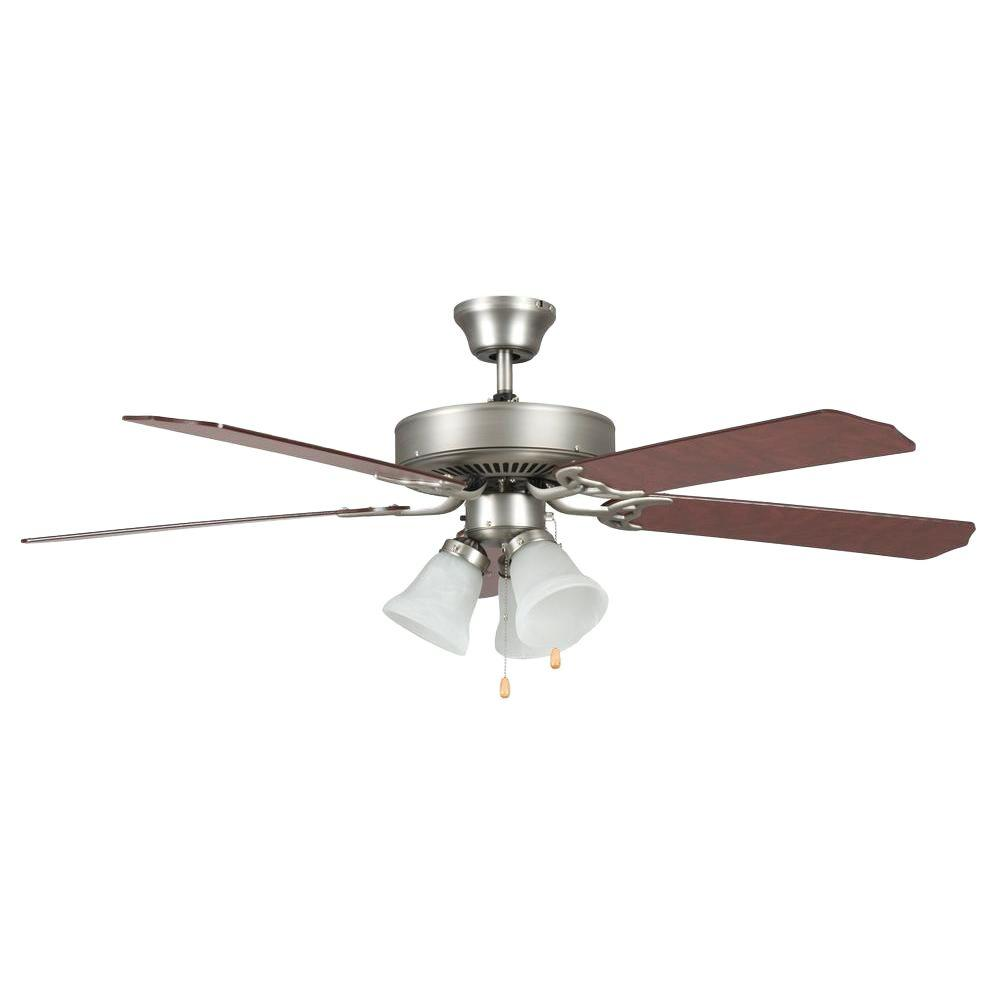 Silver ceiling fans lighting the home depot indoor satin nickel ceiling fan aloadofball Images