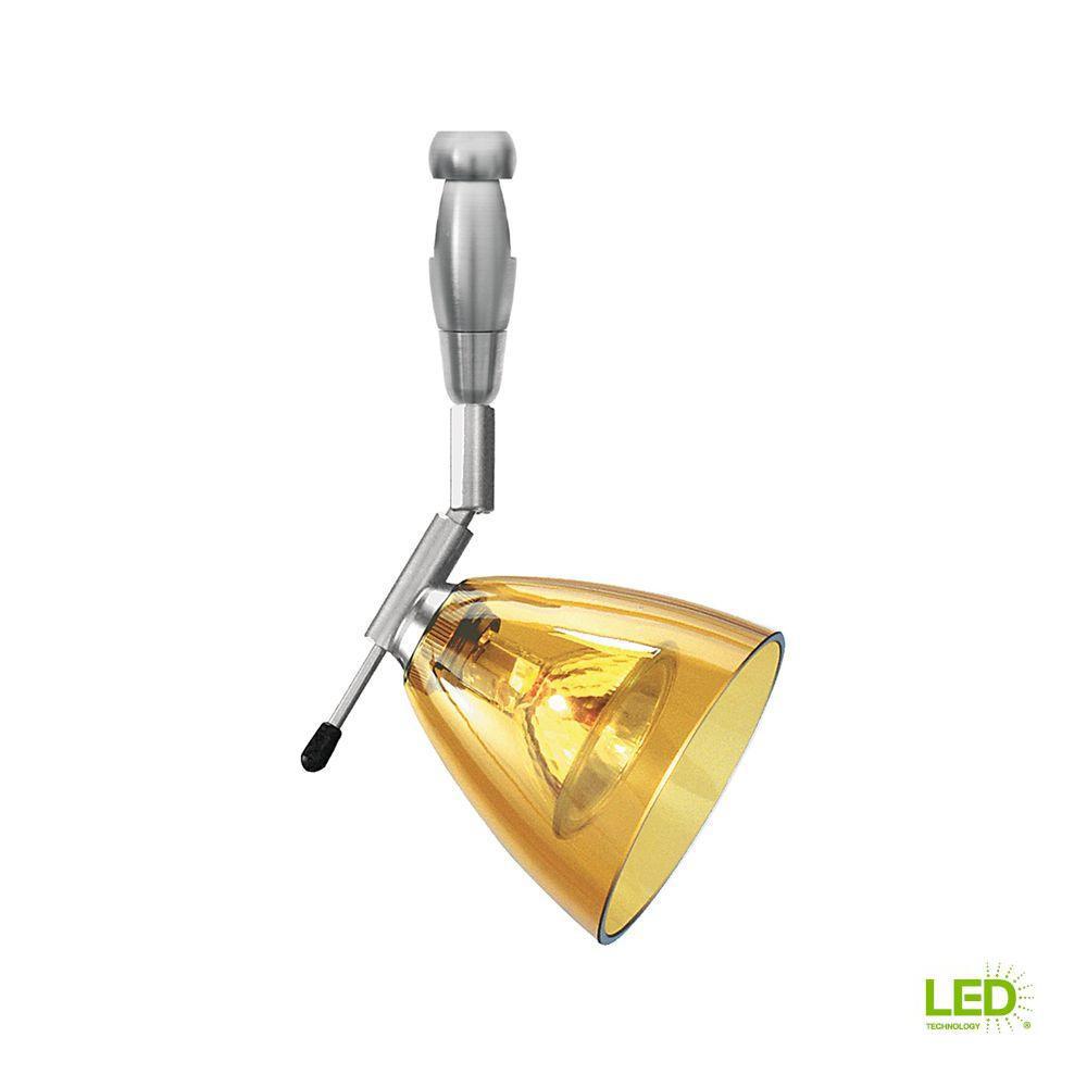 Mini-Dome I Swivel I 1-Light Satin Nickel Amber LED Track Lighting Head
