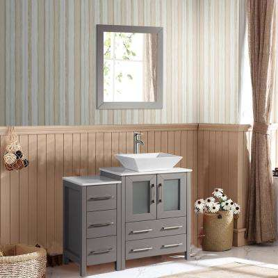 Ravenna 36 in. W x 18.5 in. D x 36 in. H Bathroom Vanity in Grey with Single Basin Top in White Ceramic and Mirror