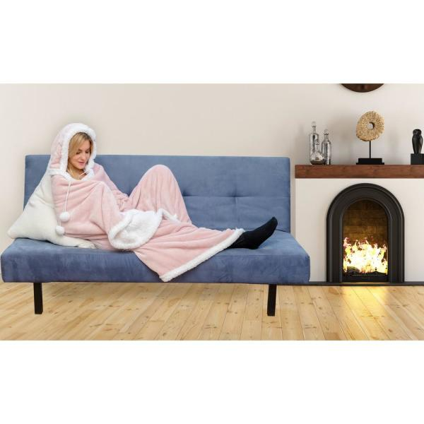 Gigi Solid Reversible Hooded Throw Blanket 51 in. W x 71 in. L in Blush