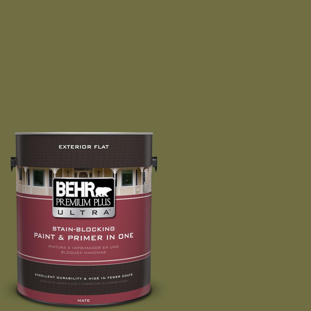 BEHR Premium Plus Ultra 1-gal. #M340-7 Classic Avocado Flat Exterior Paint