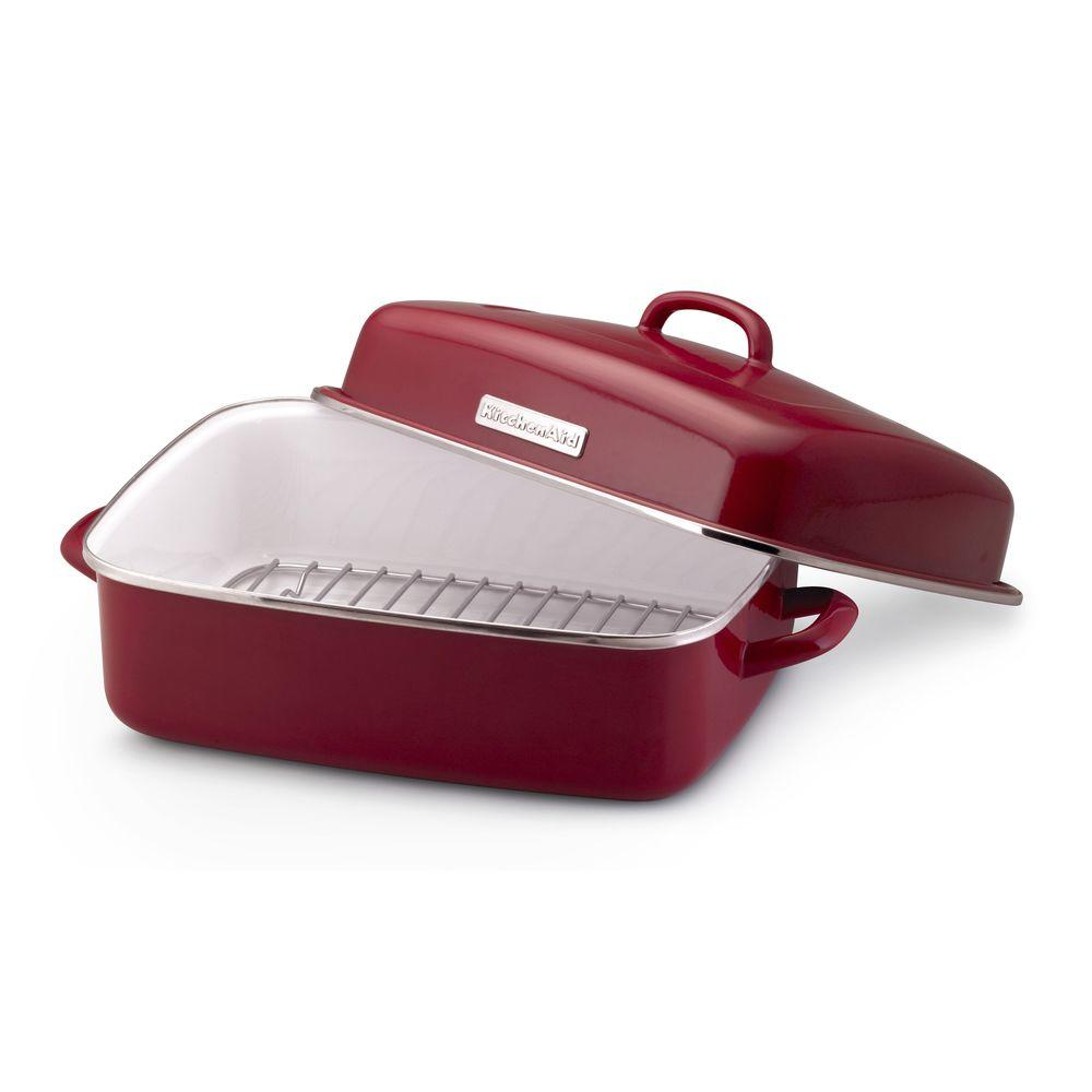 KitchenAid 13 in. x 16 in. Porcelain Enamel Covered Dome Roaster in Red-DISCONTINUED