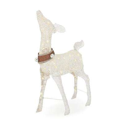 Sweet Serenity 48 in. Christmas Warm White LED White PVC Deer with Collar