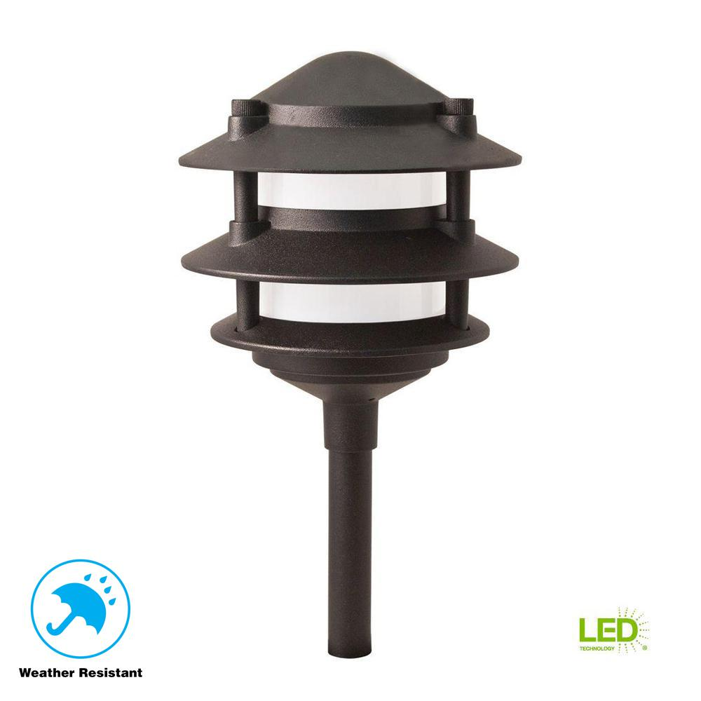 Low-Voltage Black Outdoor Integrated LED 3-Tier Metal Landscape Path Light with