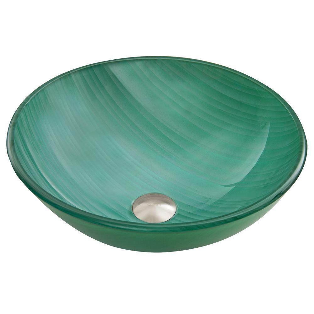VIGO Glass Vessel Sink in Whispering Wind