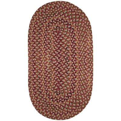 Jamerson Red 5 ft. x 8 ft. Braided Oval Area Rug