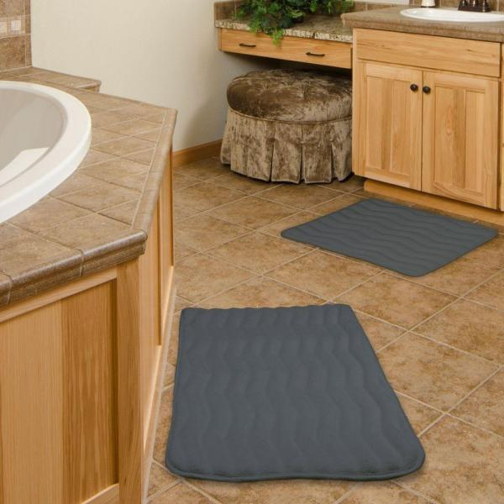 Platinum 67-10-S Lavish Home 2-Piece Memory Foam Bath Mat Set