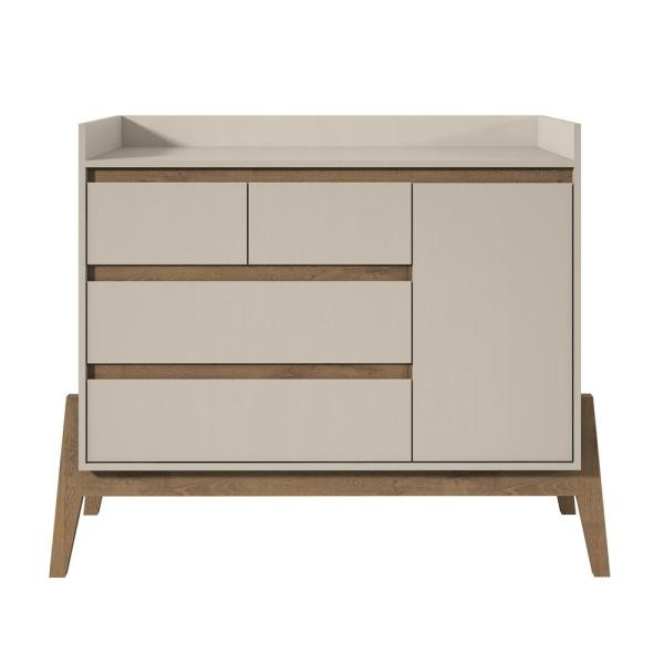 Manhattan Comfort Essence 49 in. Wide 4-Drawer Off White Dresser 350784