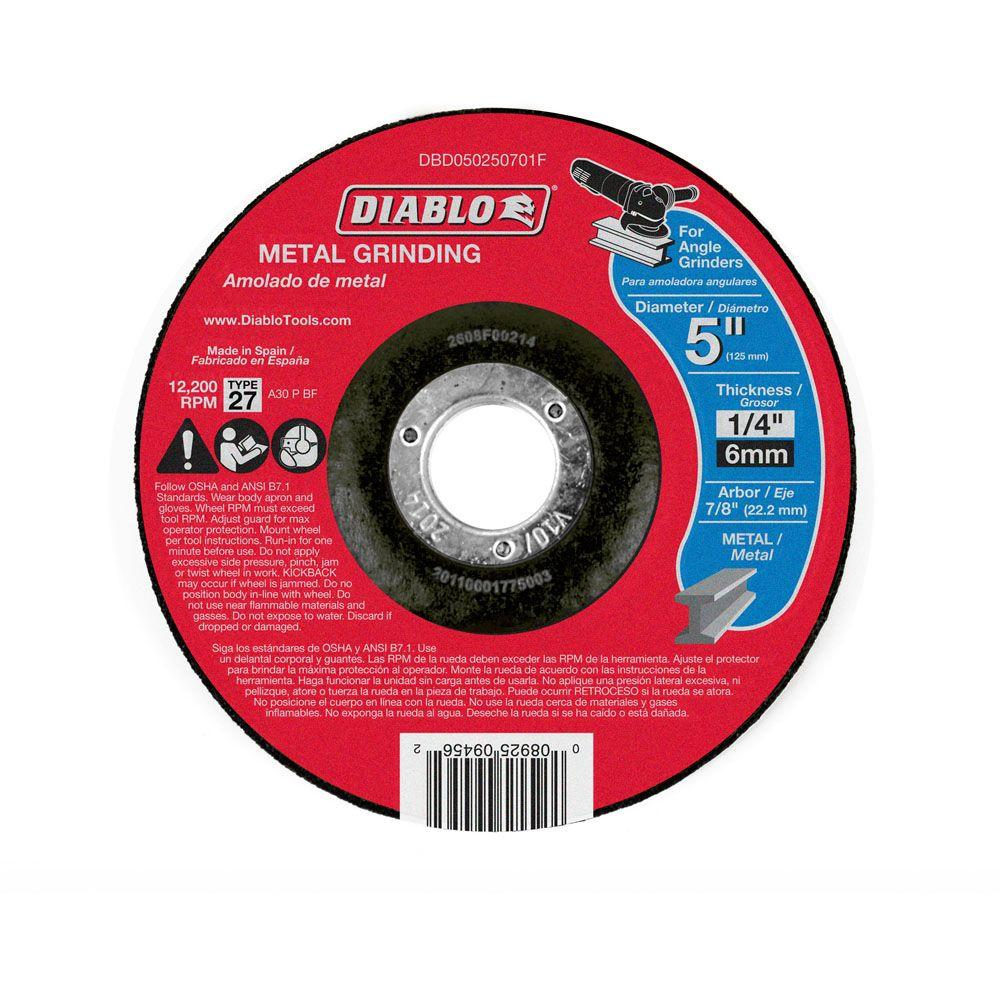DIABLO 5 in. x 1/4 in. x 7/8 in. Metal Grinding Disc with Type 27 Depressed Center