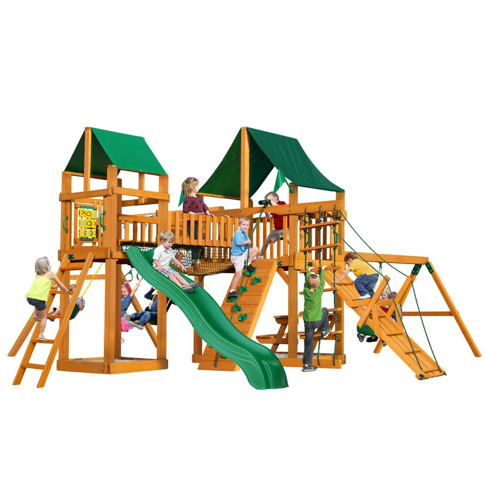 Pioneer Peak Cedar Swing Set with Sunbrella Canvas Canopy and Natural