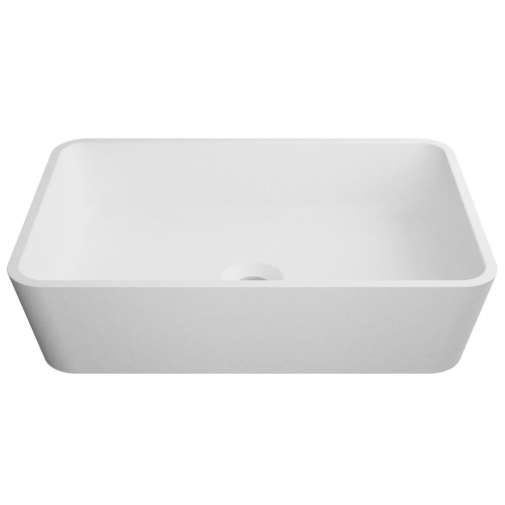 Kraus Natura Rectangle Solid Surface Vessel Sink In White