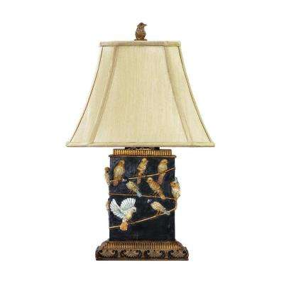 20 in. 1-Light Black Birds On Branch Lamp