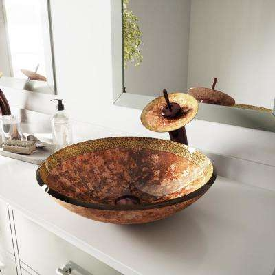 Vessel Sink in Janus with Waterfall Faucet Set in Oil Rubbed Bronze