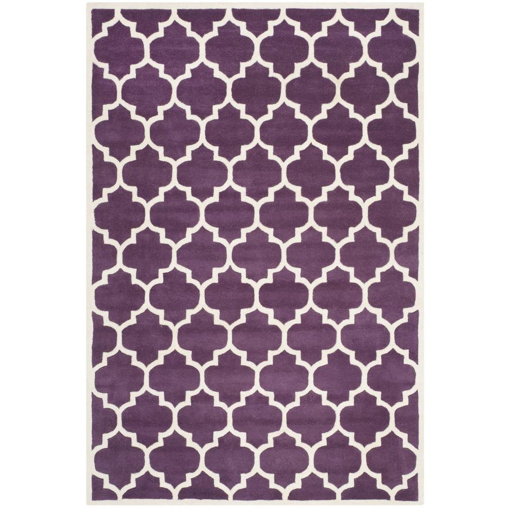 Safavieh Chatham Purple Ivory 6 Ft X 9 Ft Area Rug Cht734f 6 The