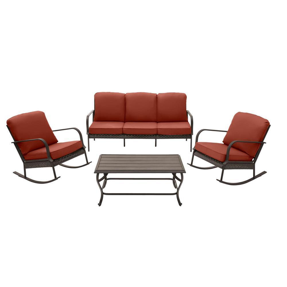Becker 4-Piece Dark Mocha Steel Outdoor Patio Seating Set with Sunbrella Henna Red Cushions