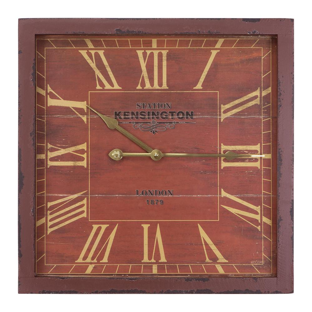 Yosemite Home Decor 16 In. Square MDF Wall Clock In Distressed Red Wooden  Frame