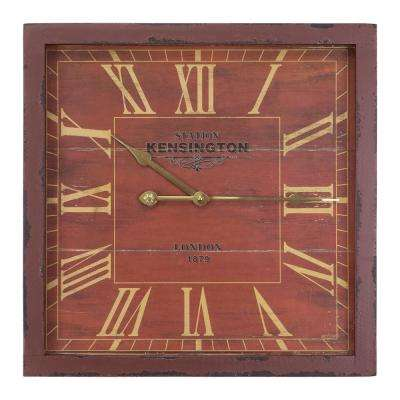 16 in. Square MDF Wall Clock in Distressed Red Wooden Frame