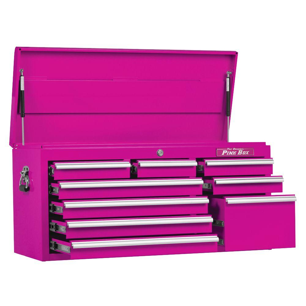 The Original Pink Box 41 in. 9-Drawer Top Chest, Pink