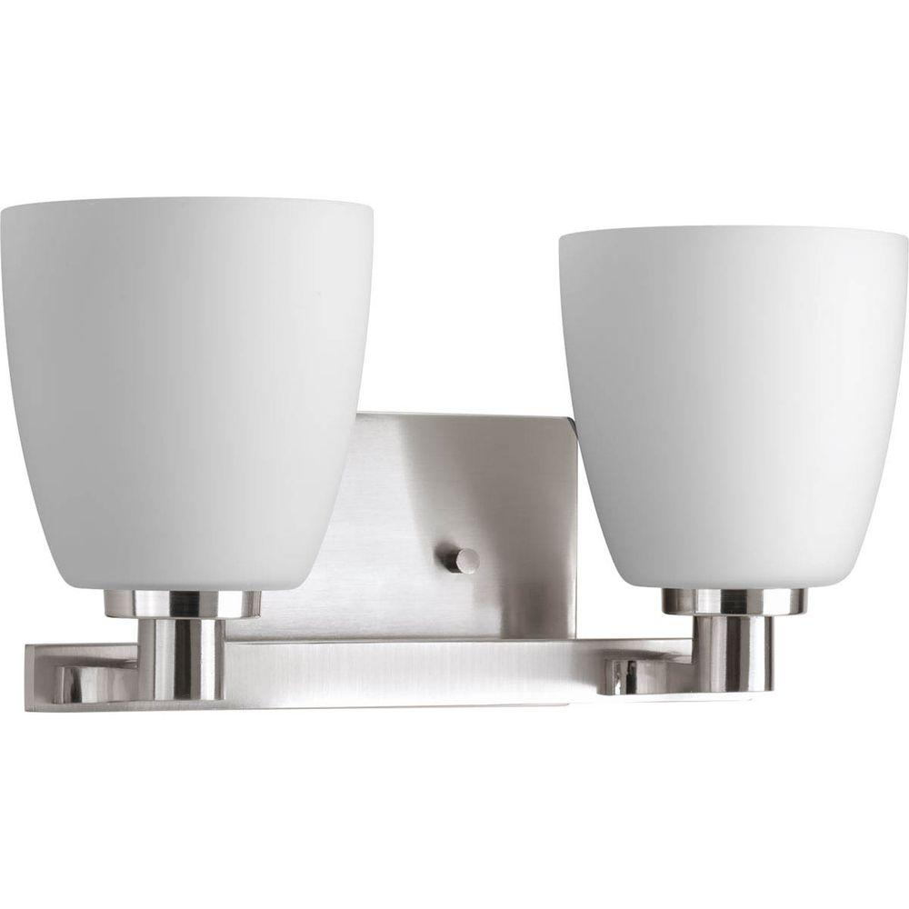 Polished Nickel Bathroom Vanity Light: Progress Lighting Fleet Collection 2-Light Brushed Nickel