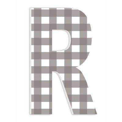 "12 in. x 18 in. ""Farmhouse Gingham Patterned Initial R"" by Artist Daphne Polselli Wood Wall Art"