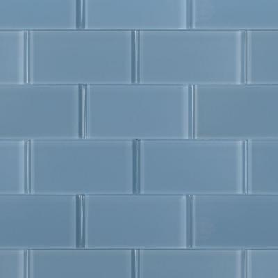 Contempo Blue Gray Polished 6 in. x 3 in. x 8 mm Glass Floor and Wall Subway Tile (4 sq. ft./ Case)