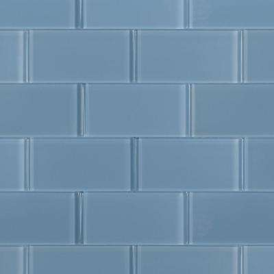 Contempo Blue Gray Polished 6 in. x 3 in. x 8 mm Glass Floor and Wall Subway Tile