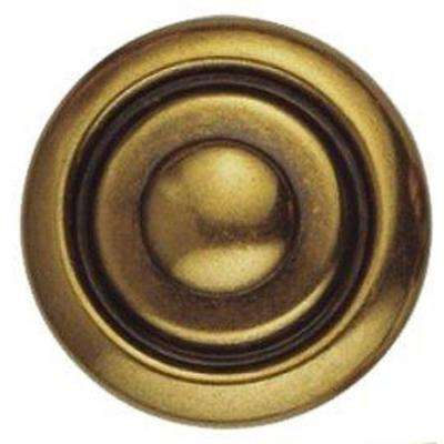 1800 Circa 1.38 in. Antique Brass Dark Round Knob
