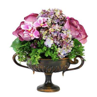 Mixed Faux Floral 16 in. Tall Centerpiece in Metal Footed Urn Flowers