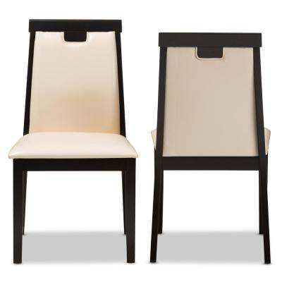 Evelyn Beige and Dark Brown Faux Leather Dining Chair (Set of 2)