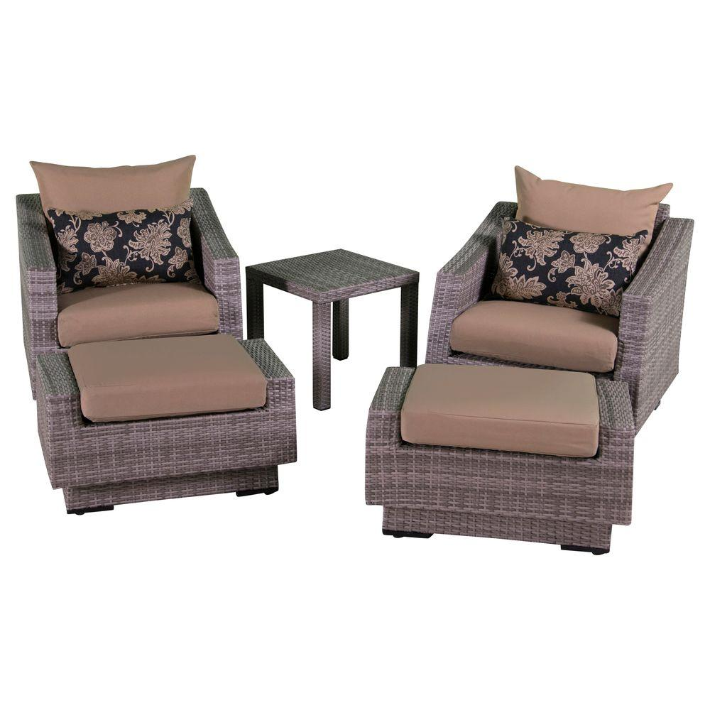 RST Brands Cannes 5 Piece Wicker Patio Club Chair And Ottoman Set With  Moroccan Cream Cushions OP PECLB5 CNS MOR K   The Home Depot