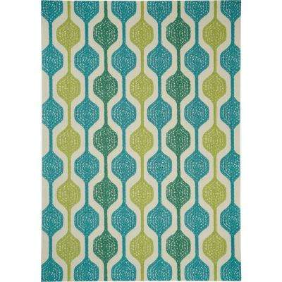 Sun N Shade Contemporary Ivory/Aqua 7 ft. 9 in. x 10 ft. 10 in. Area Rug