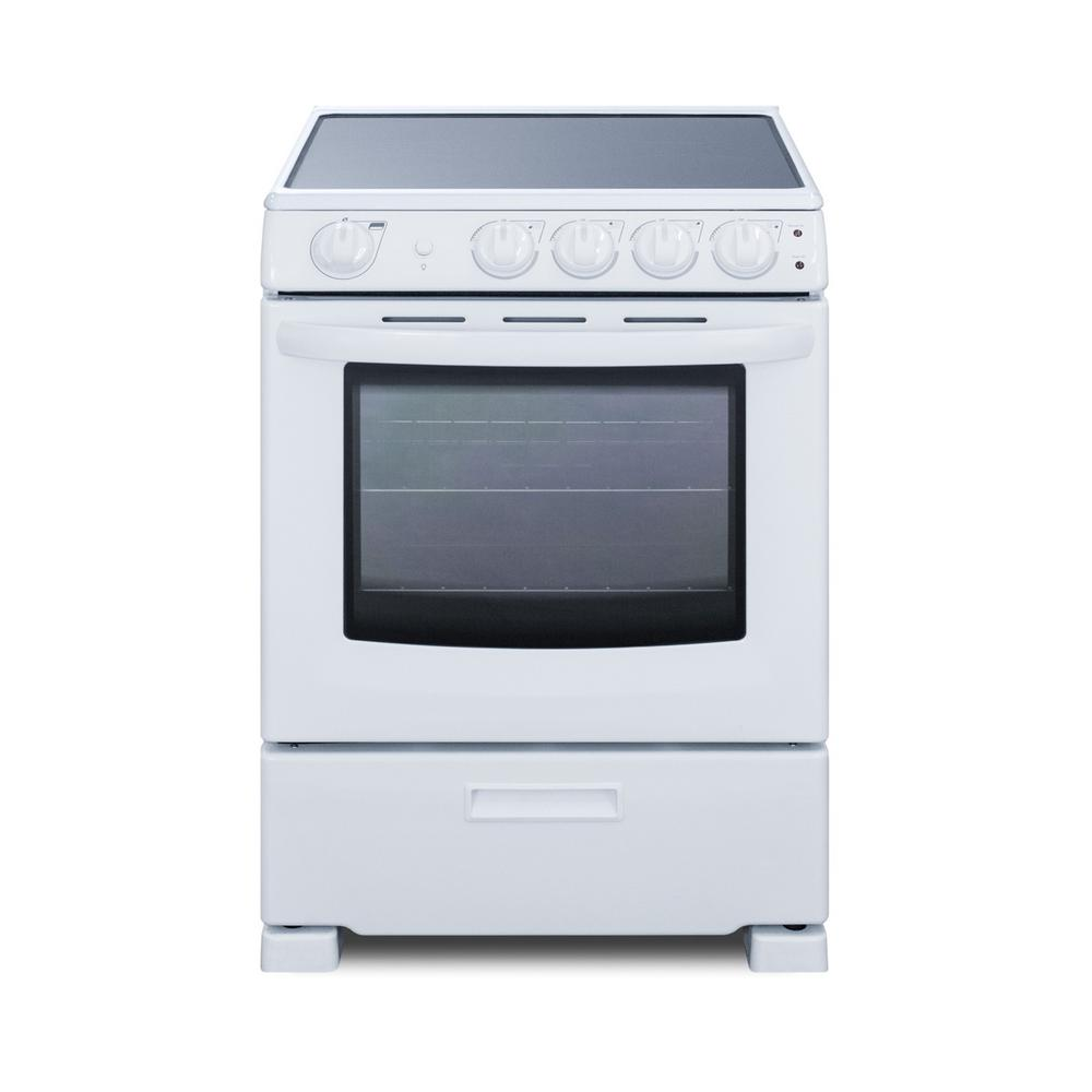 Summit Appliance 24 in. 2.9 cu. ft. Slide-In Electric Range in White