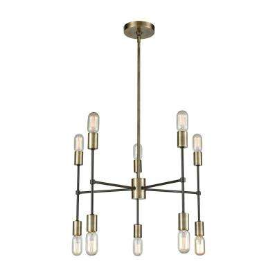 Up Down Century 10-Light Antique Brass and Oil Rubbed Bronze Chandelier