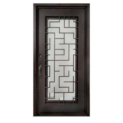 40 in. x 98 in. Bel Sol Classic Full Lite Painted Oil Rubbed Bronze Clear Wrought Iron Prehung Front Door
