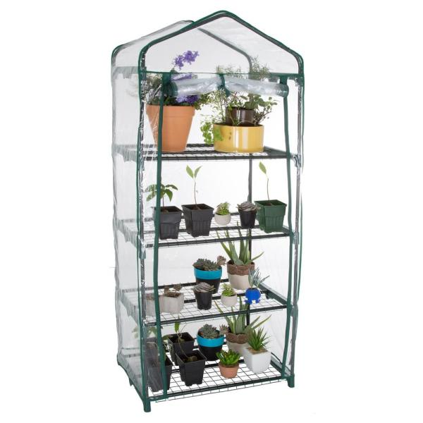 4 Tier Mini Greenhouse PVC Outdoor Garden Metal Frame Grow House With Shelves