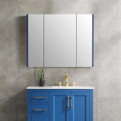 37 in. x 30 in. Surface Mount Framed 3 Door Blue Medicine Cabinet with 8 Shelves and Mirror