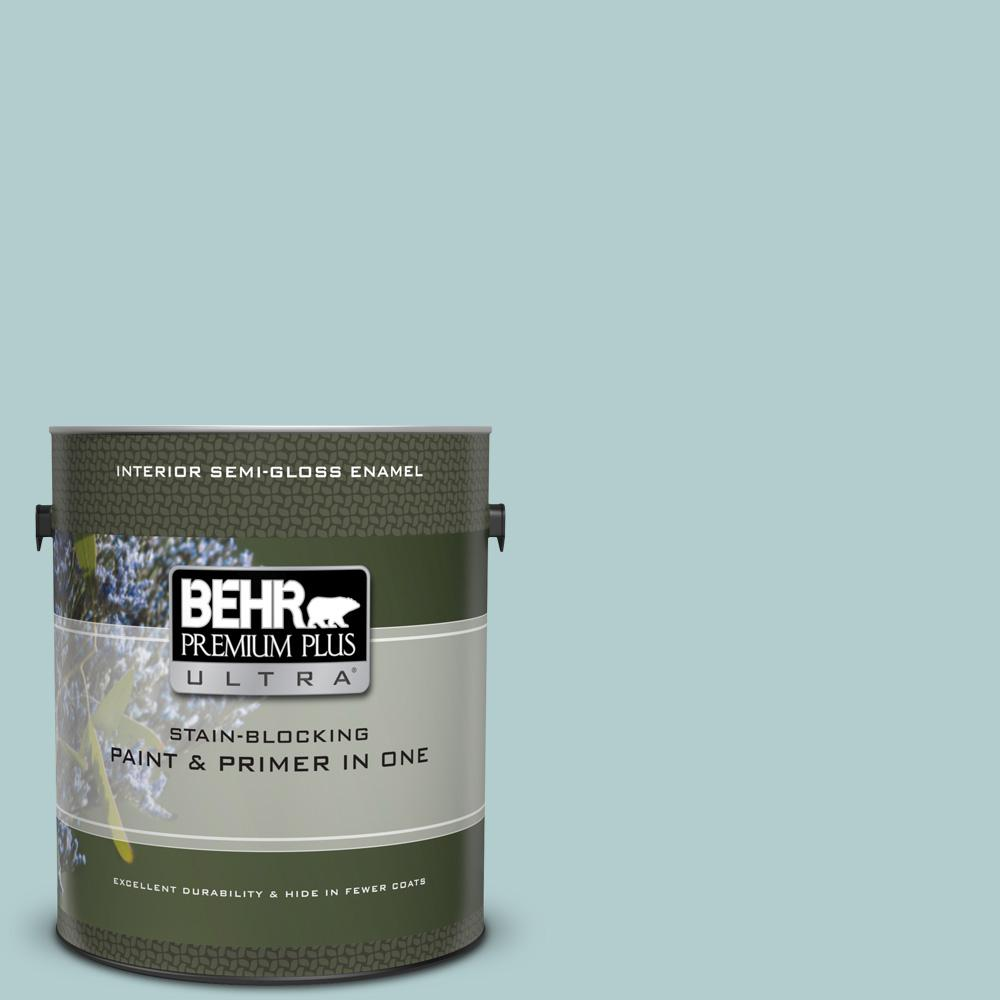 1 gal.  UL220-8 Clear Pond Semi-Gloss Enamel Interior Paint and Primer in  One 7591765c0