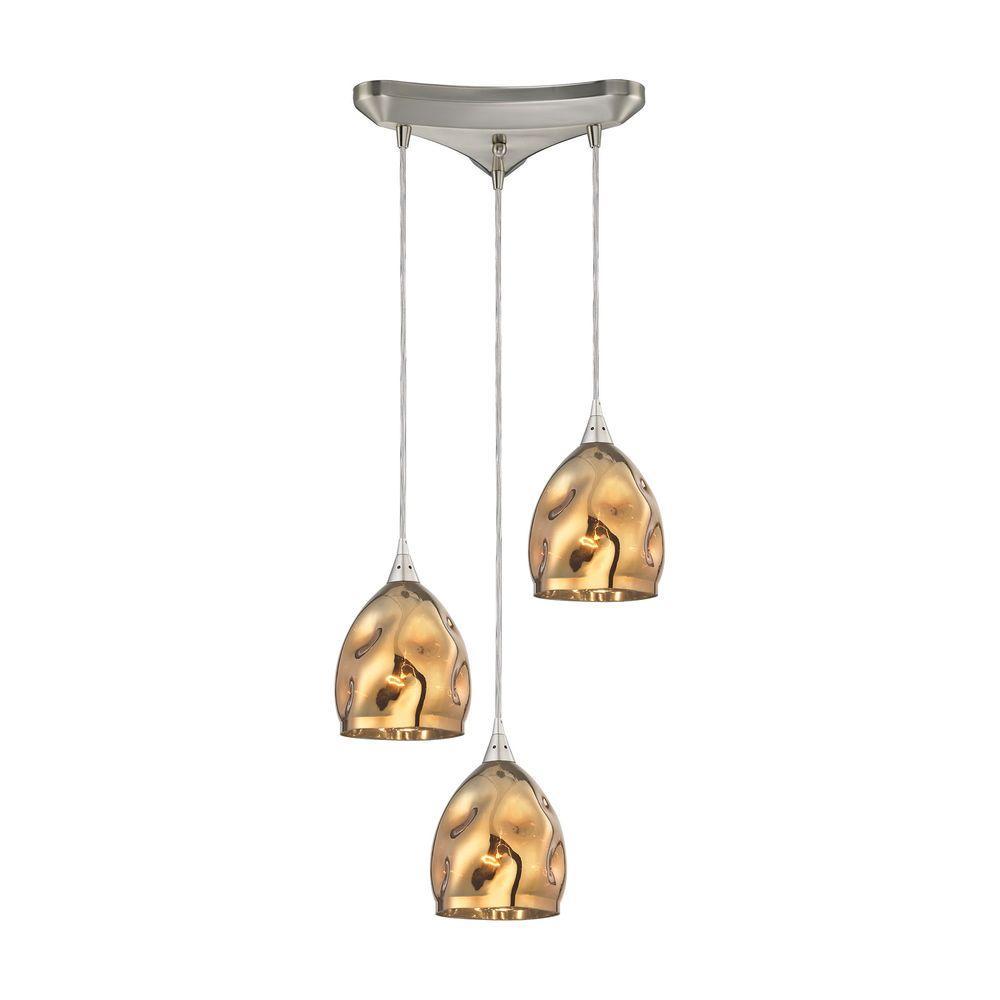 the latest f90bf da52f Titan Lighting Niche 3-Light Satin Nickel Pendant with Polished Gold Glass
